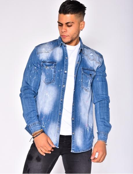 Chemise en jeans à tâches de peinture