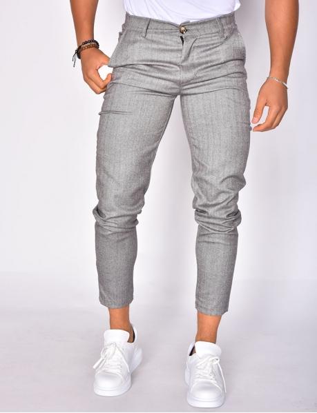 Trousers with Herringbone Pattern