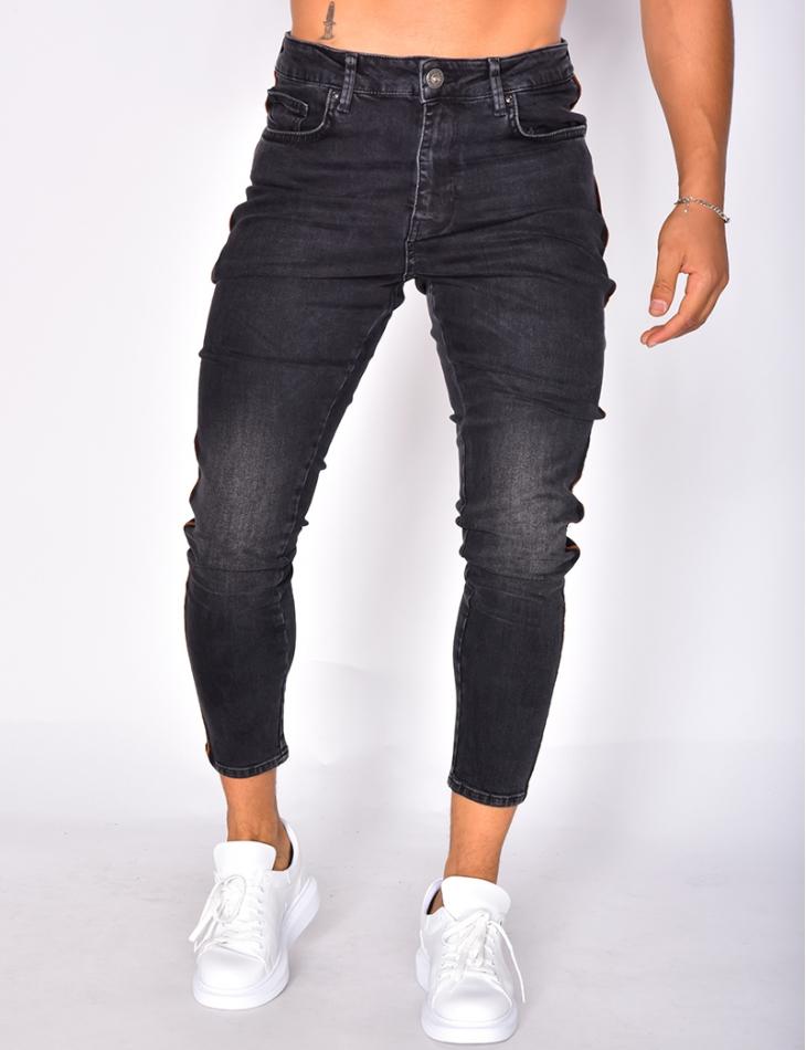 Jeans noir à bandes