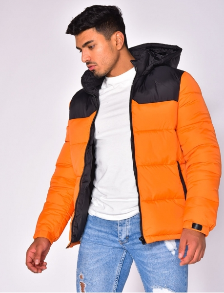 Two-Tone Padded Jacket with Hood