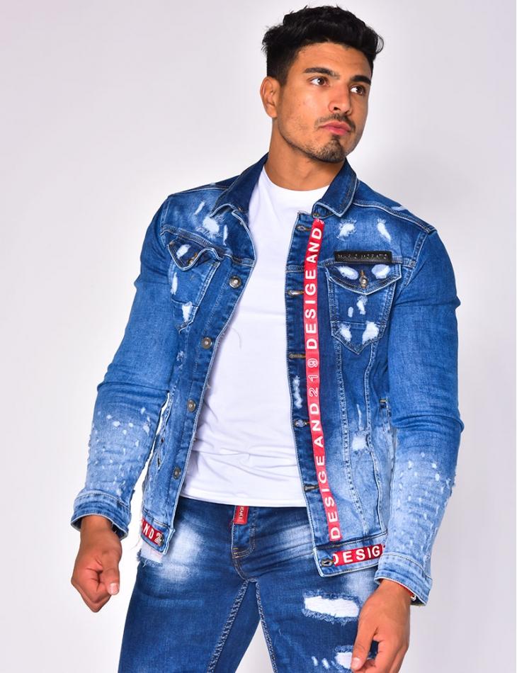 Veste en jeans destroy à bandes