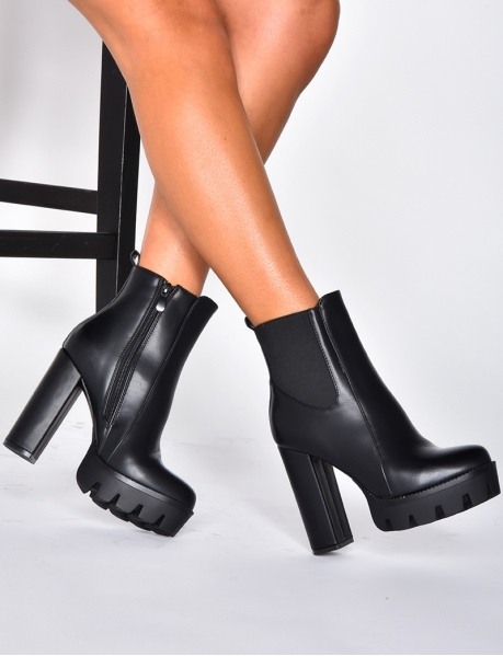 Ankle Boots with Platform and Heel