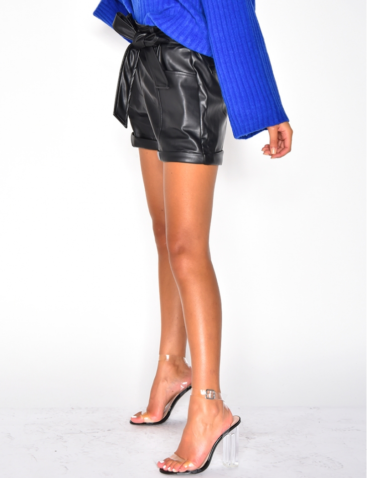 Faux Leather Tie Shorts