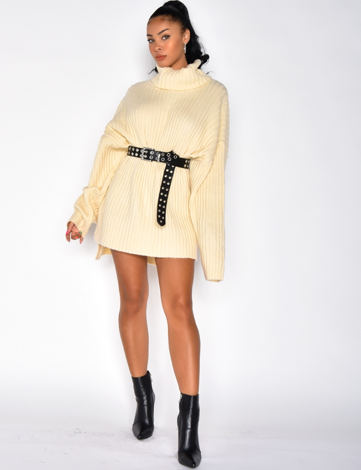 Oversized Ribbed Polo Neck Jumper