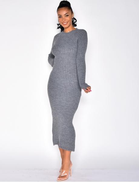 Robe longue en laine dos croisé