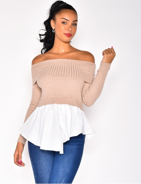 Pull empiecement chemise