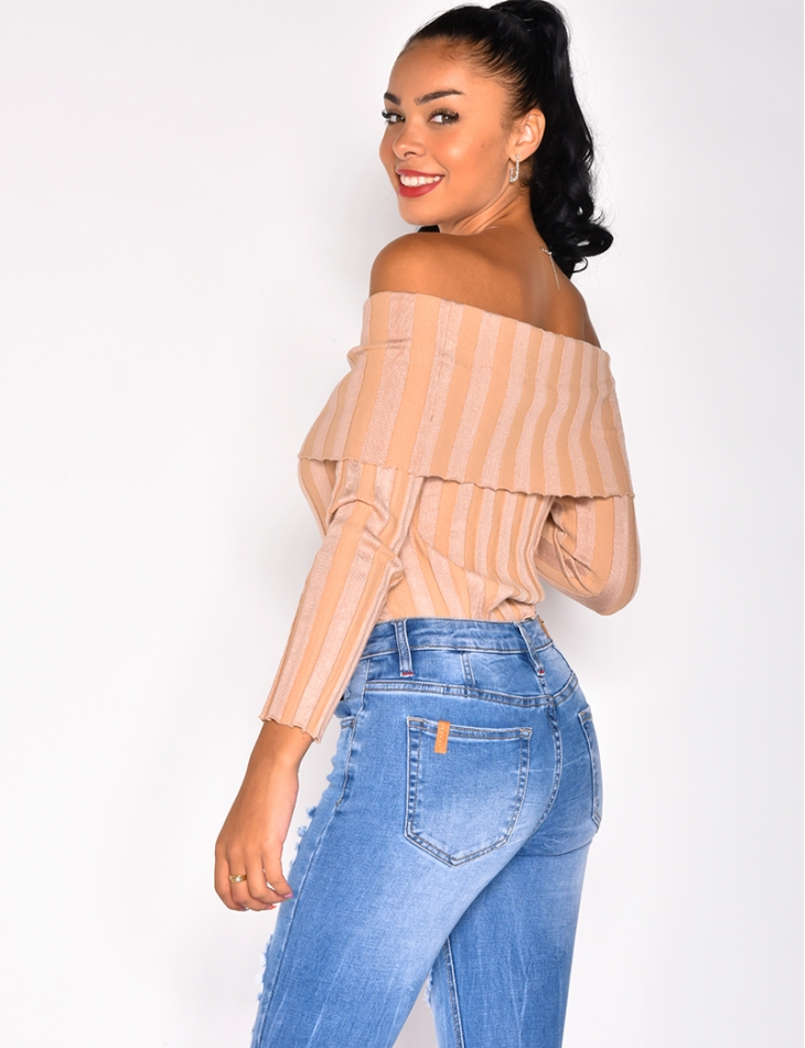 Ribbed Bardot Jumper