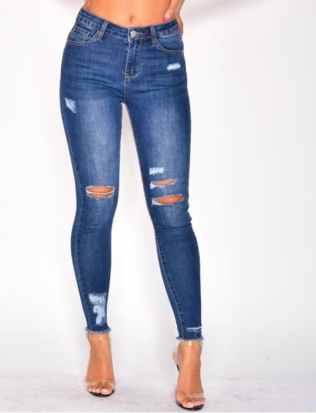 Jeans mit hoher Taille, destroy