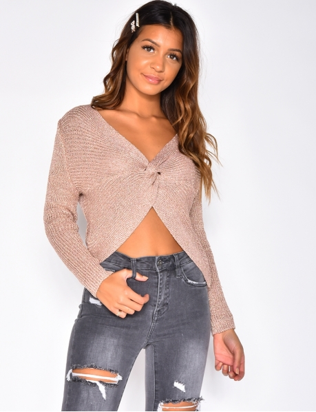 Iridescent Knit Jumper with Knot