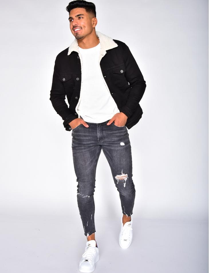 Fur-lined Denim Jacket