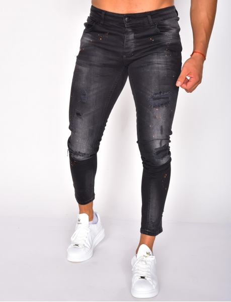 Black Ripped Jeans with Marks