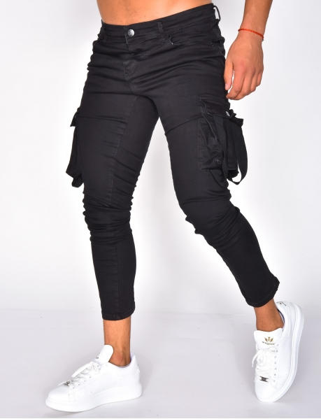 Black Cargo Jeans with Zip