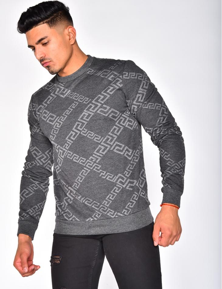 Sweatshirt with Geometrical Pattern