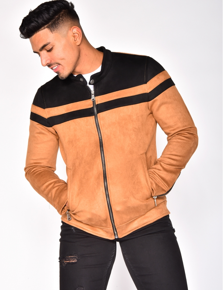Two-Tone Suedette Jacket with Zip on the Sleeves