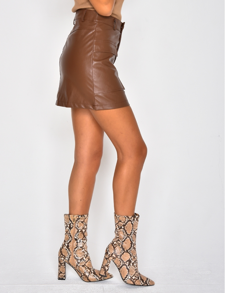 PU Leather Skirt with Pockets