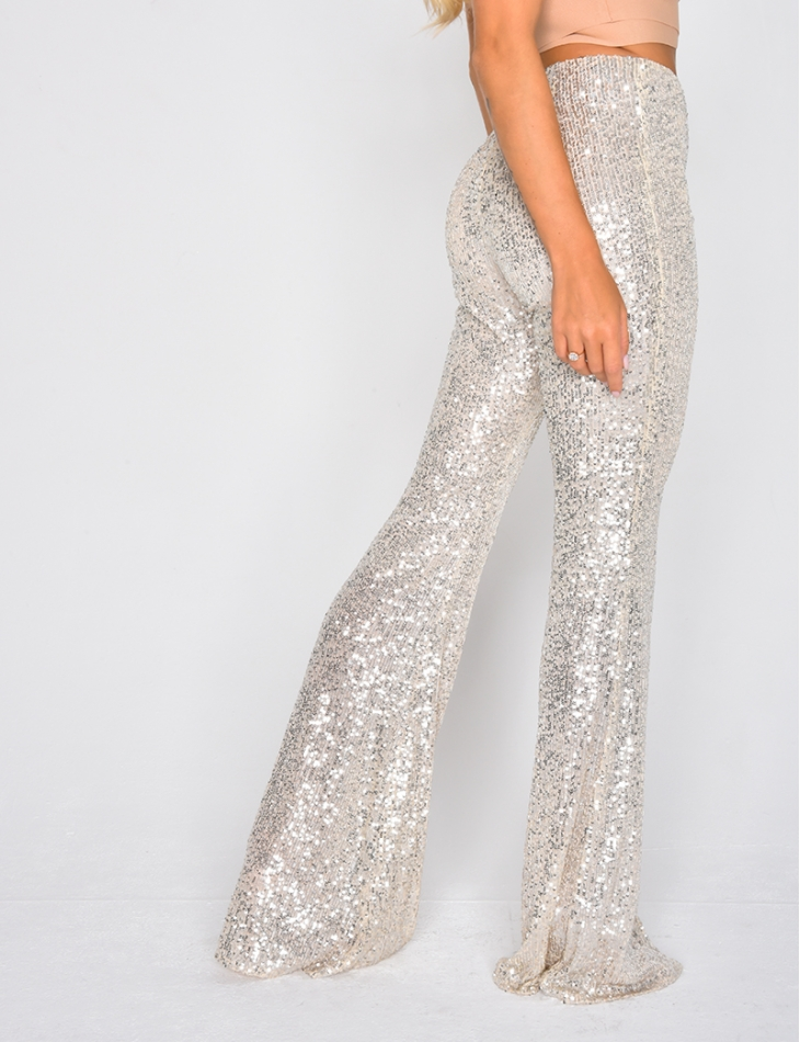 High Waisted Sequin Trousers