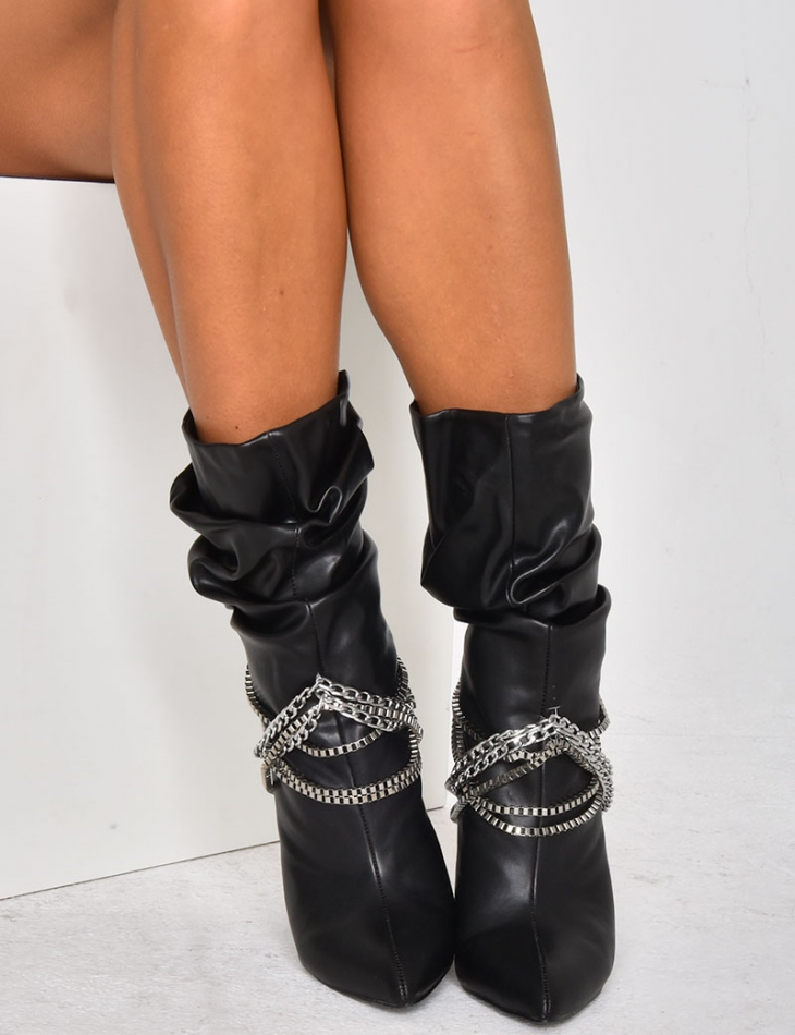Heeled Boots with Chains