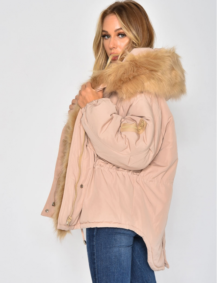 Asymmetric Oversized Padded Jacket with Faux Fur