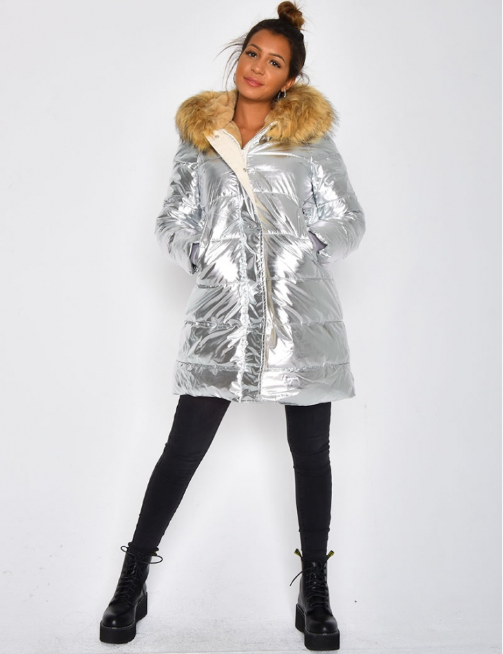 Long Silver Padded Jacket