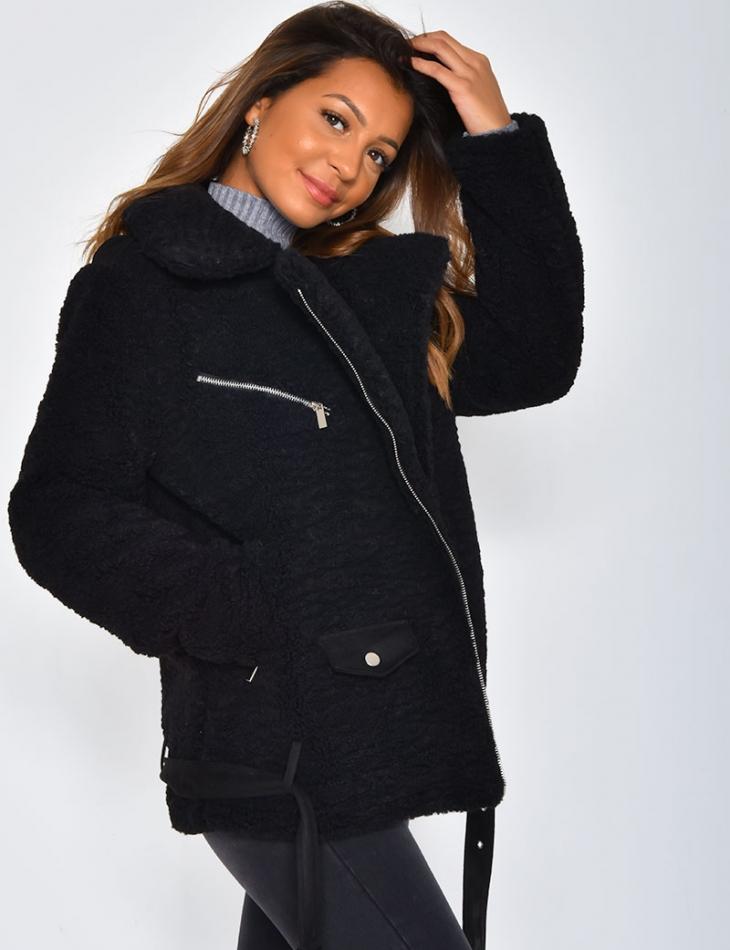 Faux Fur Jacket with Belt