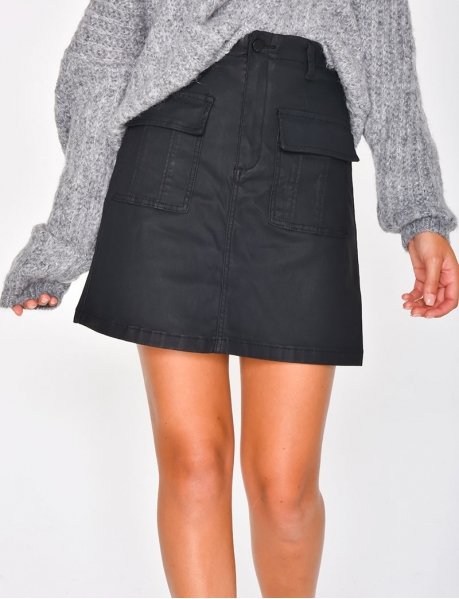 Matte Leather Skirt with Pockets