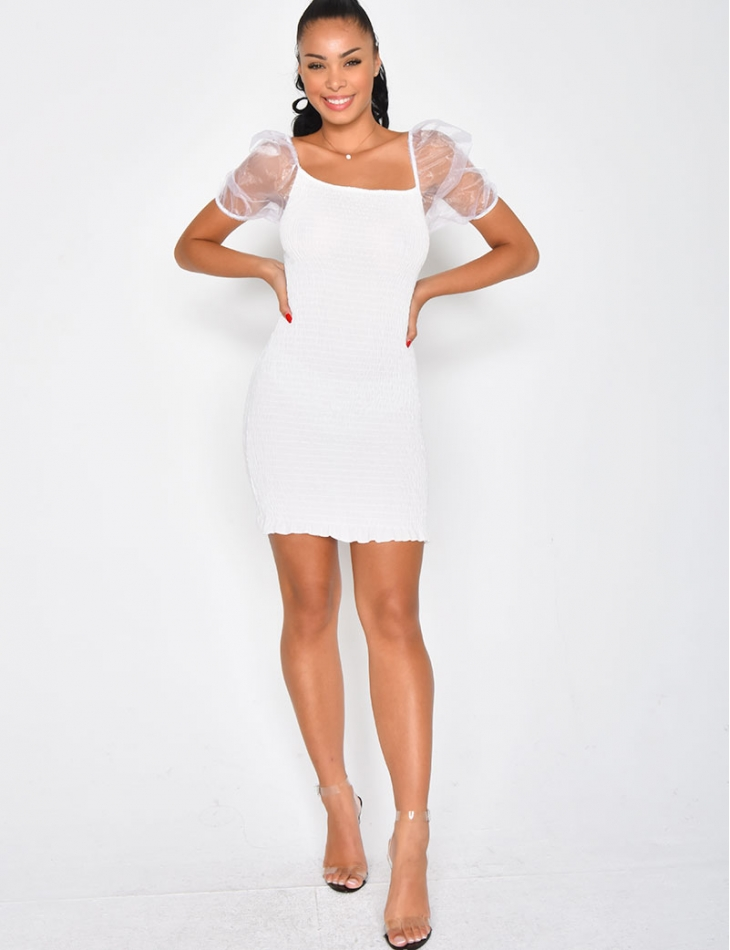 Dress with Tulle Sleeves