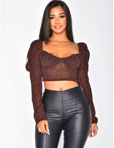 Flowery Voile Crop Top