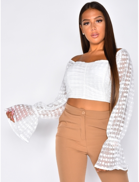 Polka Dot Crop Top with Voile Puff Sleeves