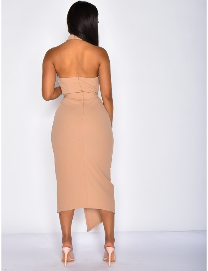 Backless Nude Tie Slit Dress