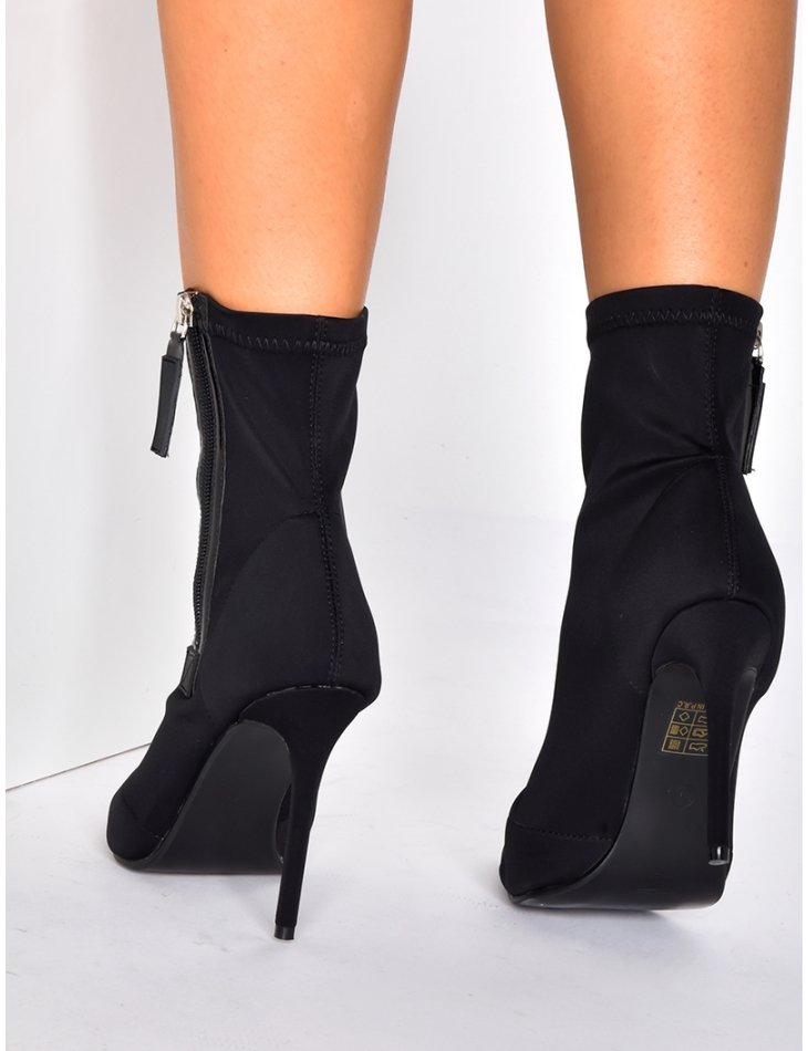 Sock Ankle Boots with Zips