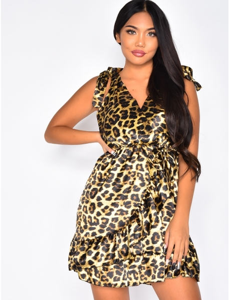 Robe fluide cache coeur à volants motif léopard