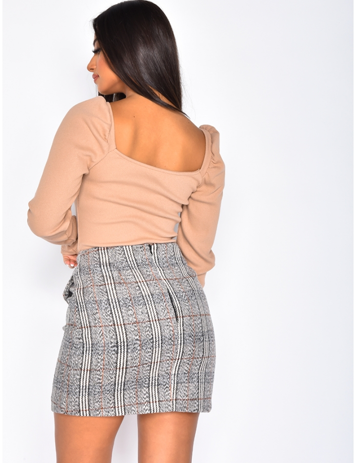 Ribbed Jumper with Puff Shoulders