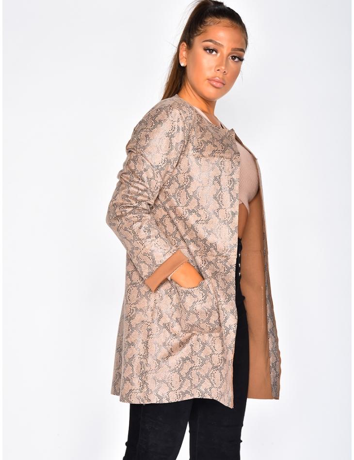 Long Jacket with Snakeskin Pattern