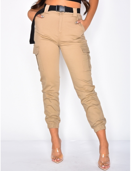 High Waisted Cargo Trousers with Belt