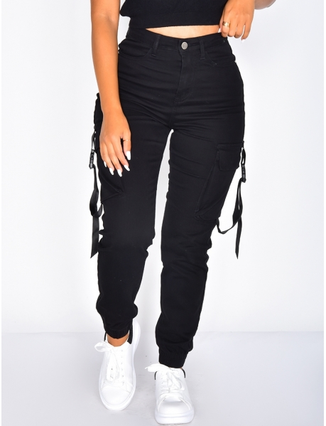 Black Cargo Jeans with Buckles