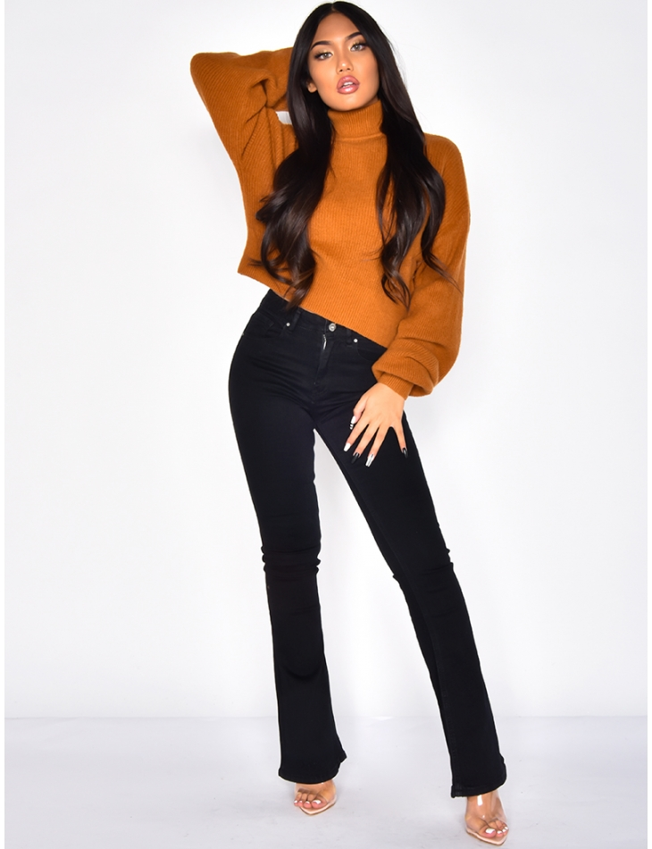 Short Polo Neck Jumper with Balloon Sleeves