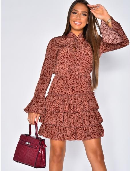 Ruffle Dress with Leopard Pattern
