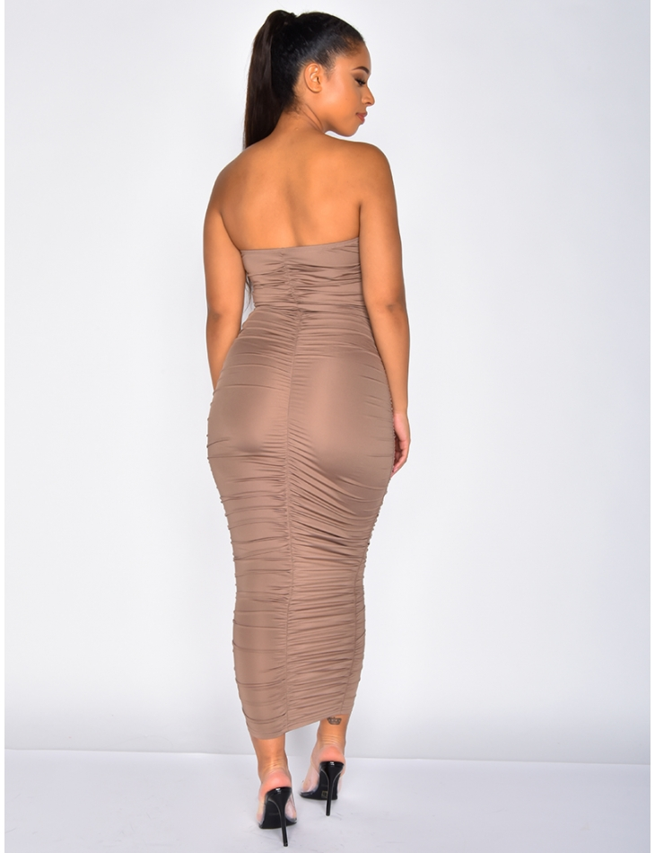Long Ruched Bustier Dress