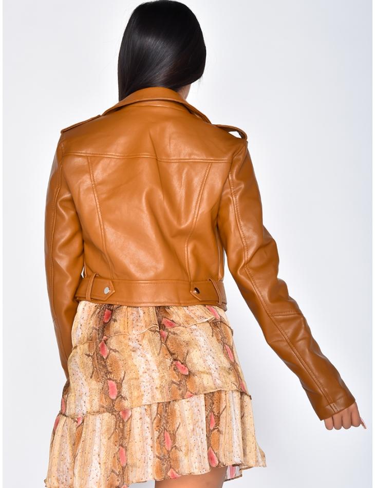 Short Matte Leather Biker Jacket