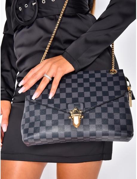 Handtasche aus Kunstleder mit Schachbrettmuster, schwarz und grau