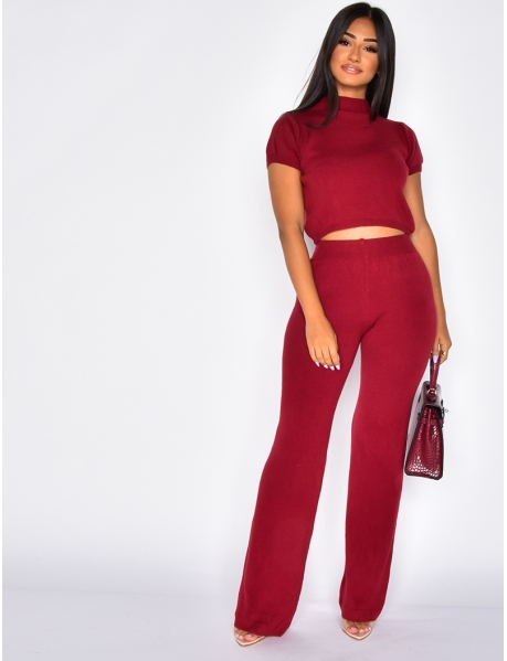 Ensemble pantalon et crop-top en laine