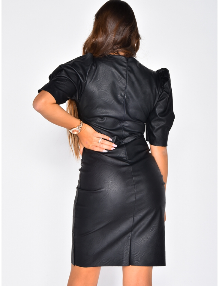 Faux Leather Dress with Short Puff Sleeves