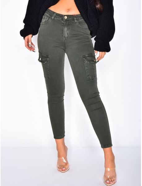 Jeans taille haute cargo