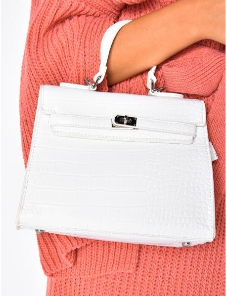 Weiße Handtasche in Kroko-Optik