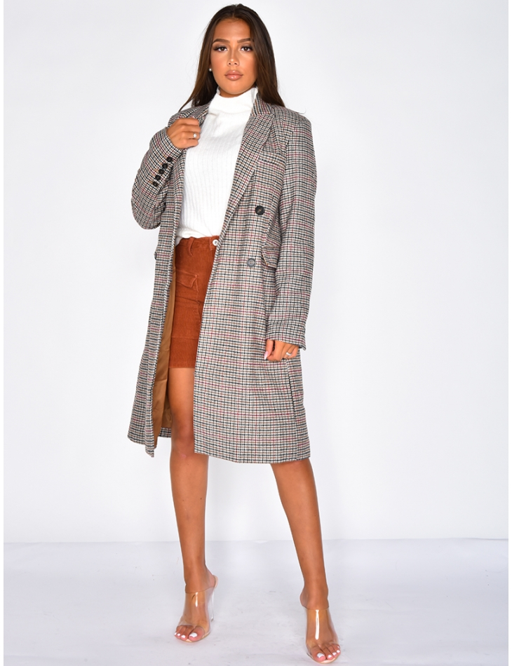 Long Coat with Houndstooth Pattern