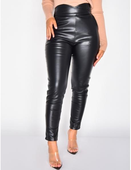 Pantalon taille haute croisé cuir