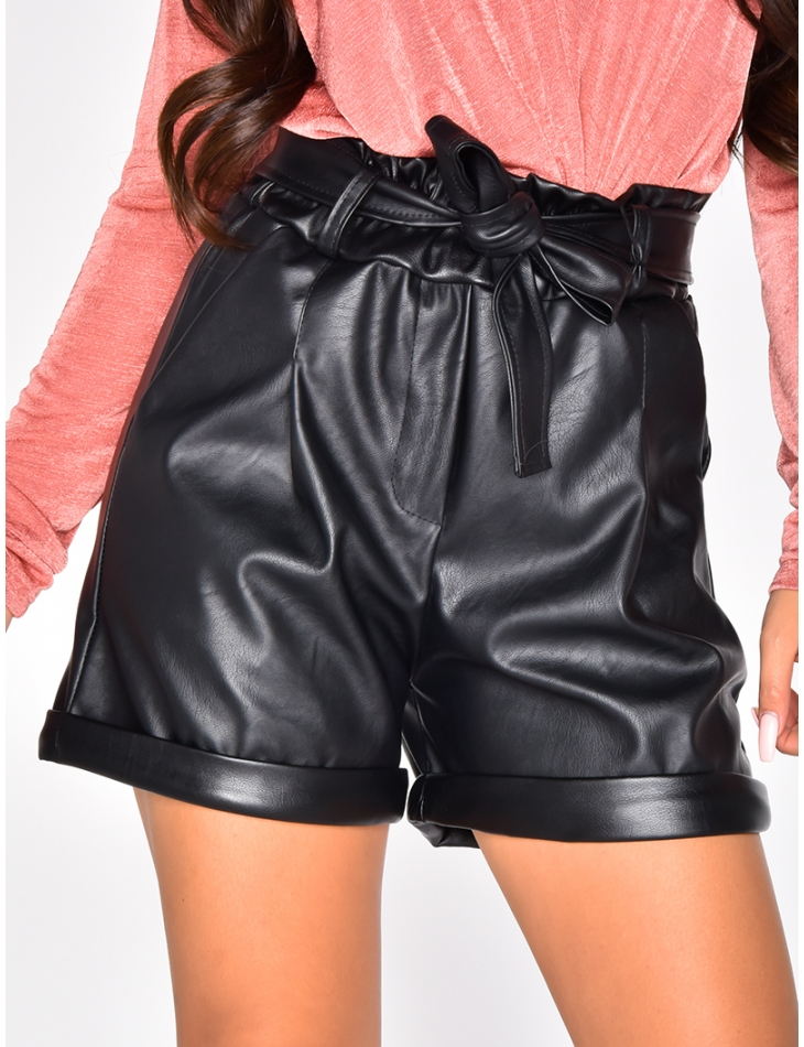 Faux Leather High Waisted Tie Shorts