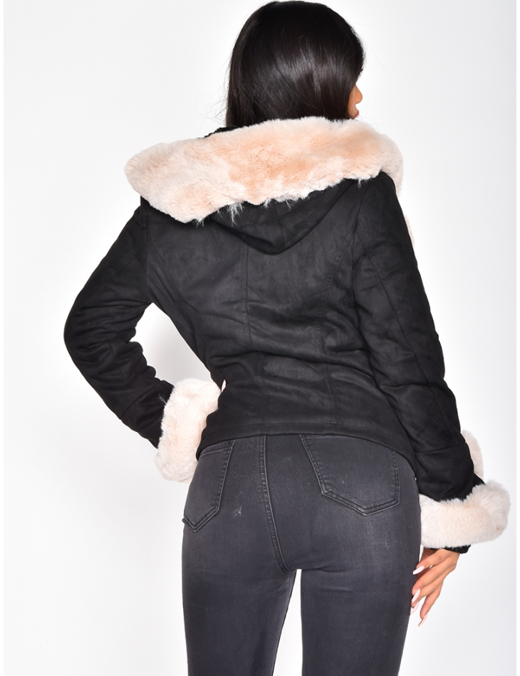 Suedette Faux Fur Jacket