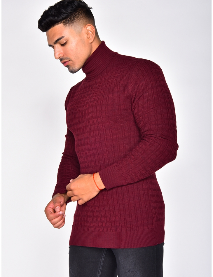 Raised Geometrical Polo Neck Jumper