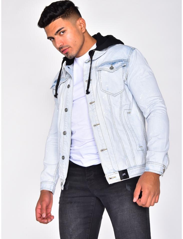 Speckled Denim Jacket with Hood